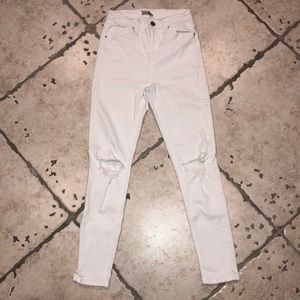 Topshop Jamie white ripped jeans